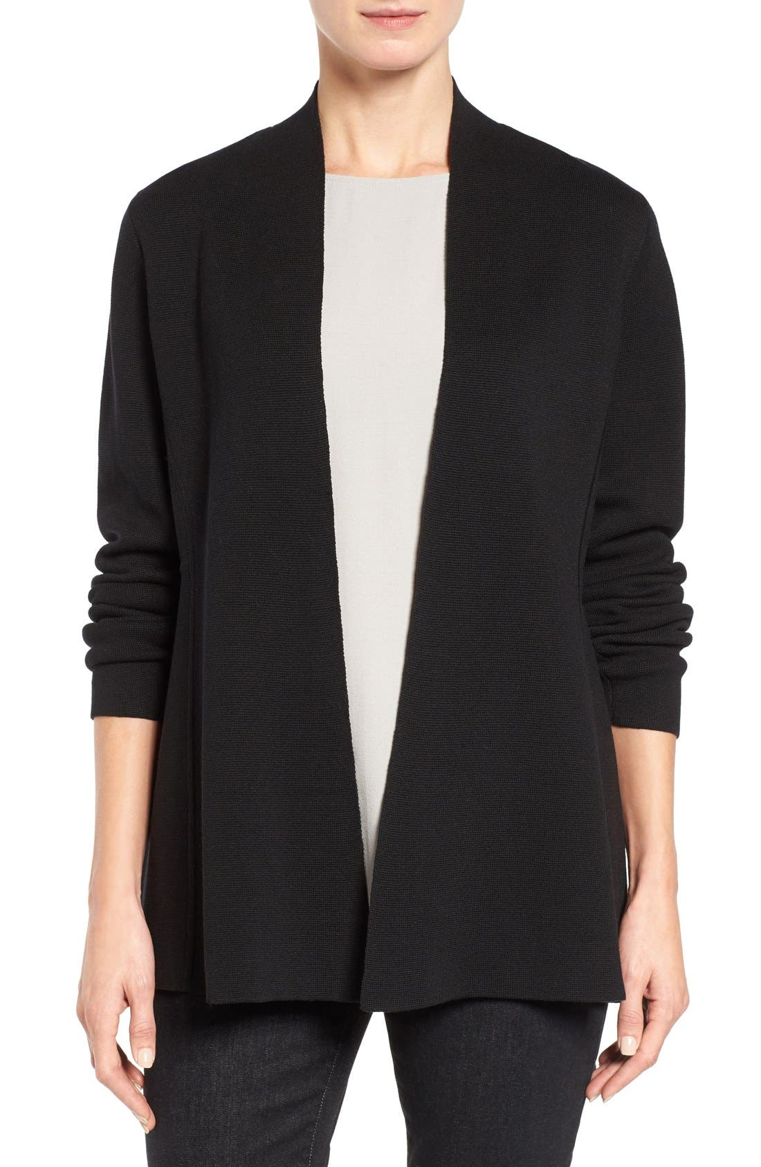 Silk & Organic Cotton Cardigan,                         Main,                         color, Black