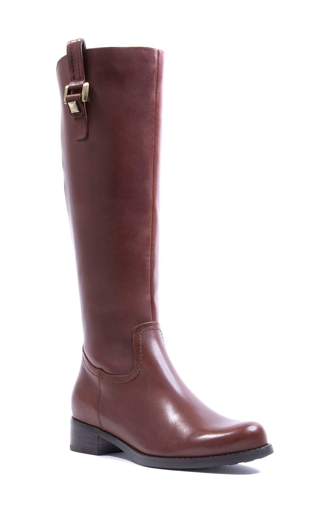 'Velvet' Waterproof Riding Boot,                             Main thumbnail 1, color,                             Butterscotch Leather