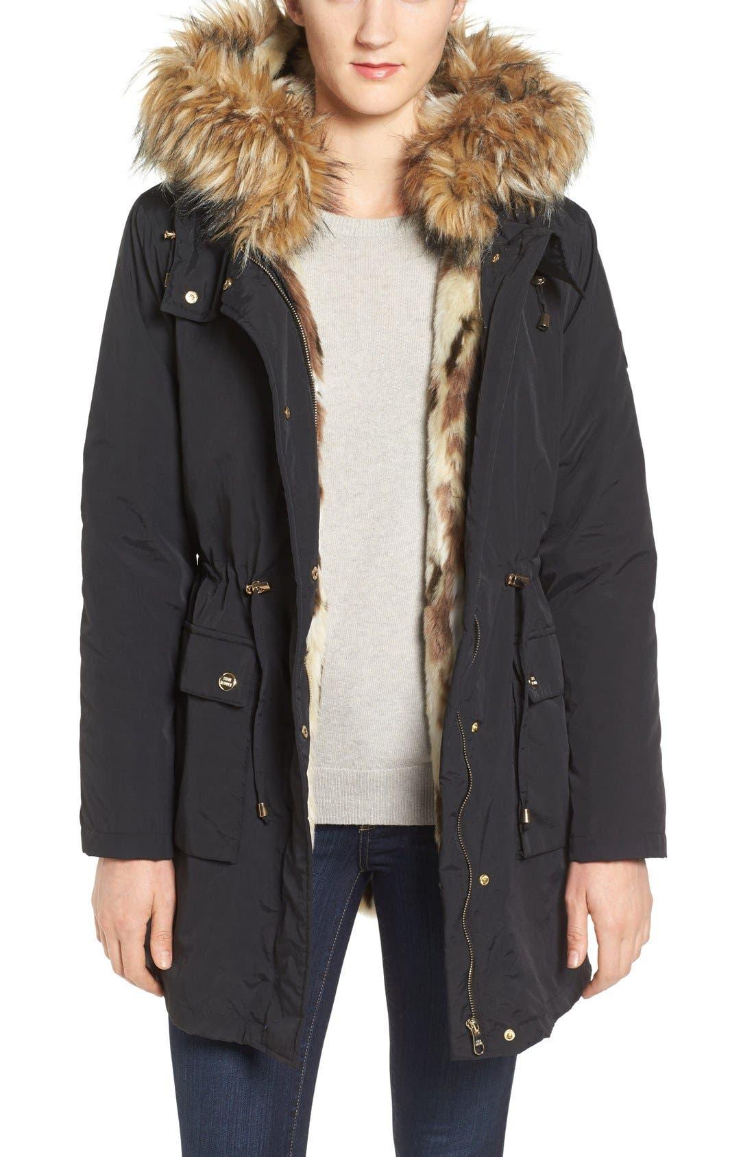 'Taslon' Parka with Faux-Fur Trim Hood,                         Main,                         color, Black