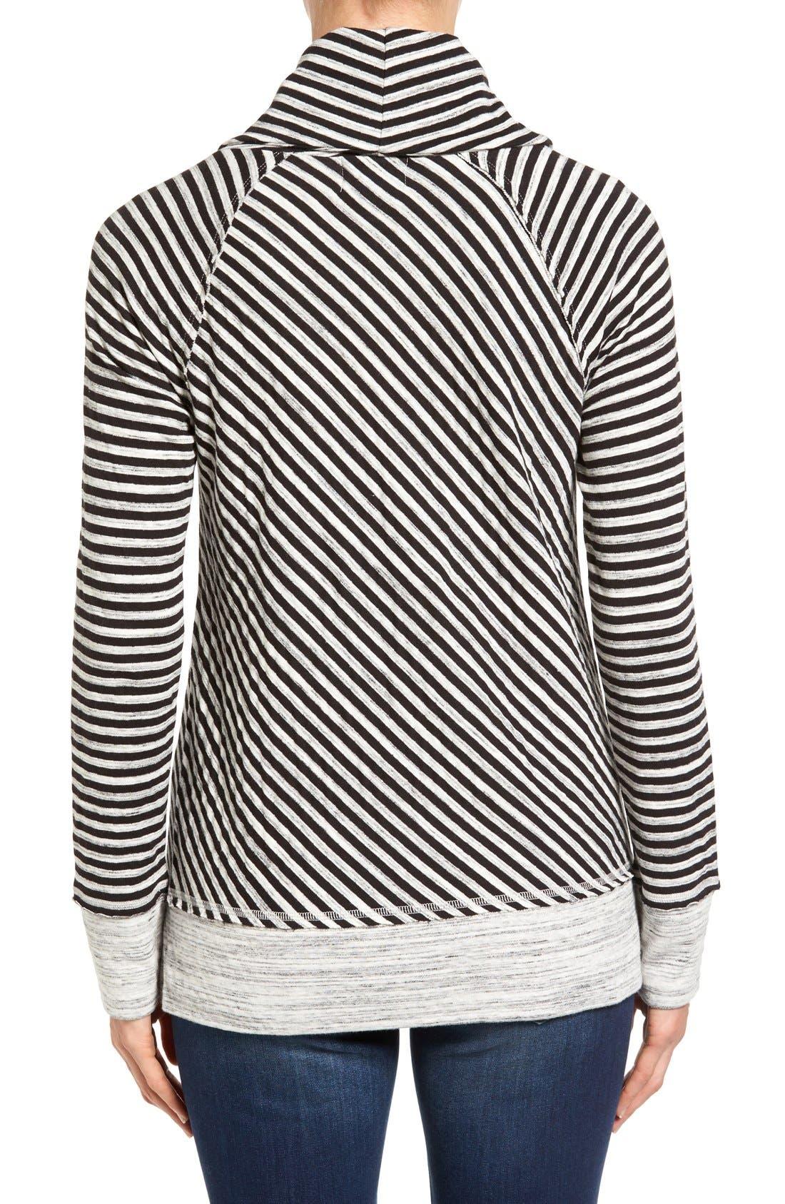 Alternate Image 2  - Caslon® Stripe Cowl Neck Sweatshirt (Regular & Petite)