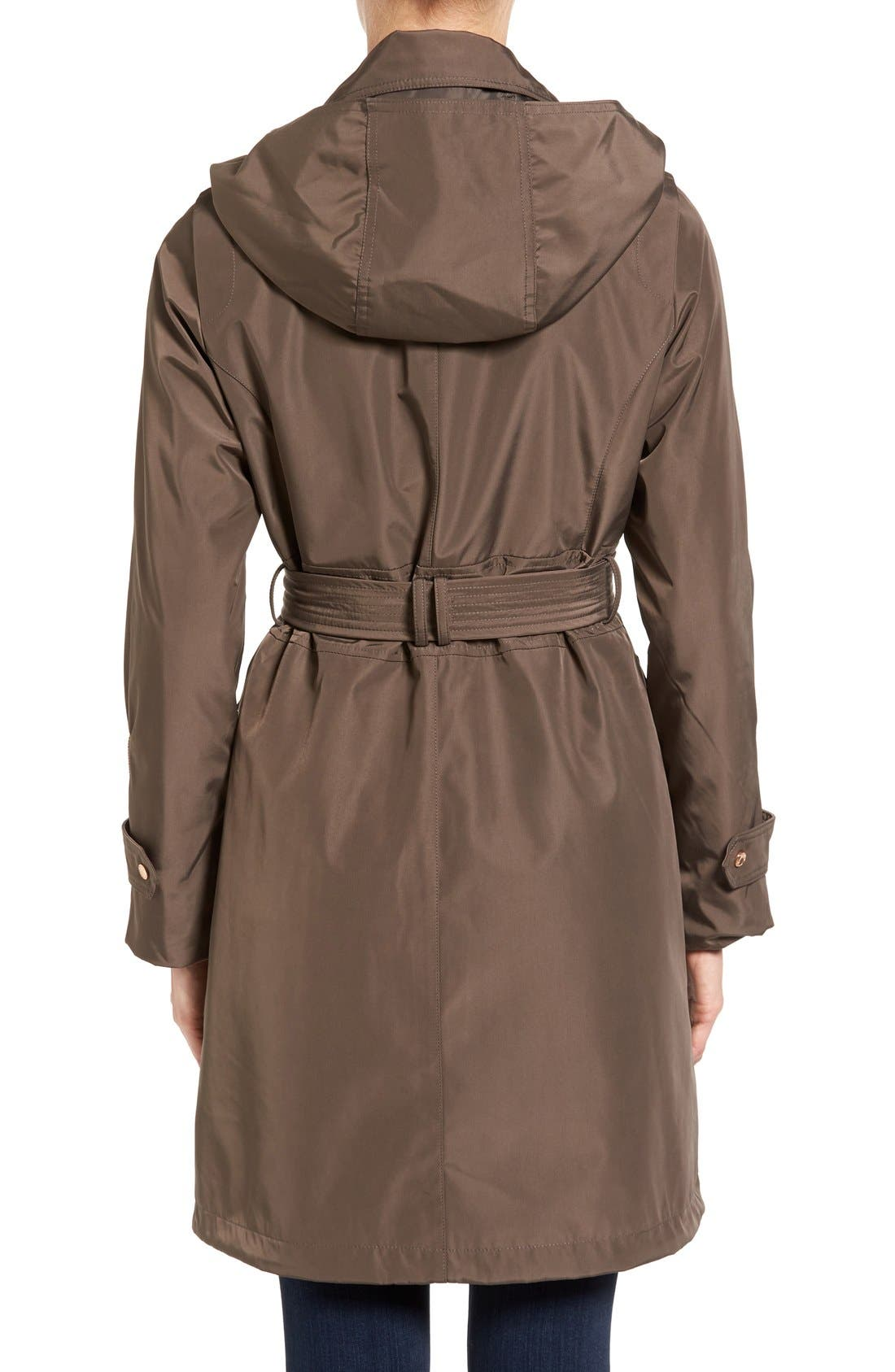 Hooded Trench Coat,                             Alternate thumbnail 2, color,                             Dark Taupe