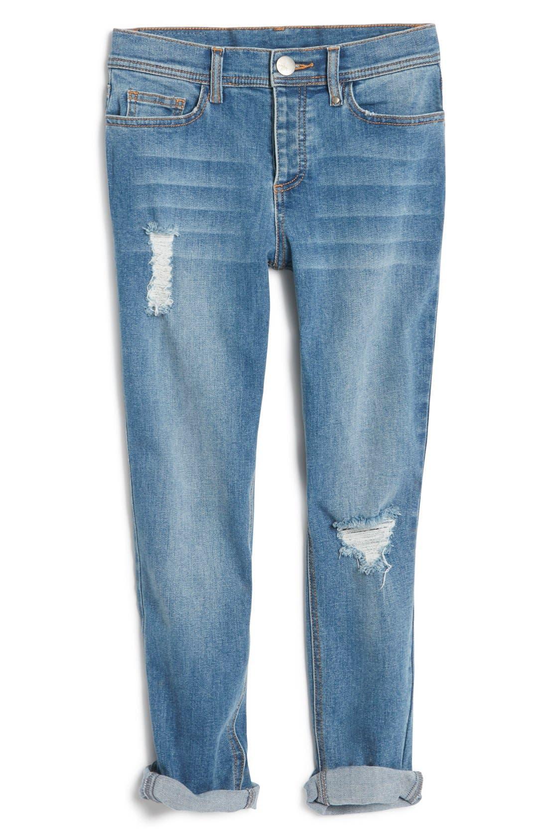 Destroyed Girlfriend Jeans,                         Main,                         color, Denim