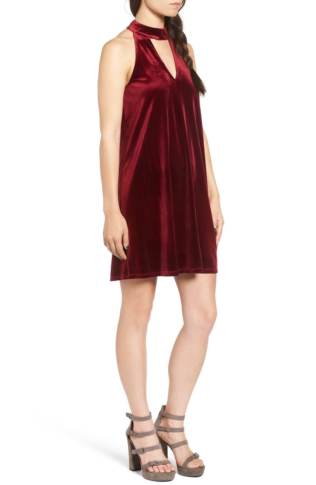 Alternate Image 3  - One Clothing Keyhole Velvet Swing Dress