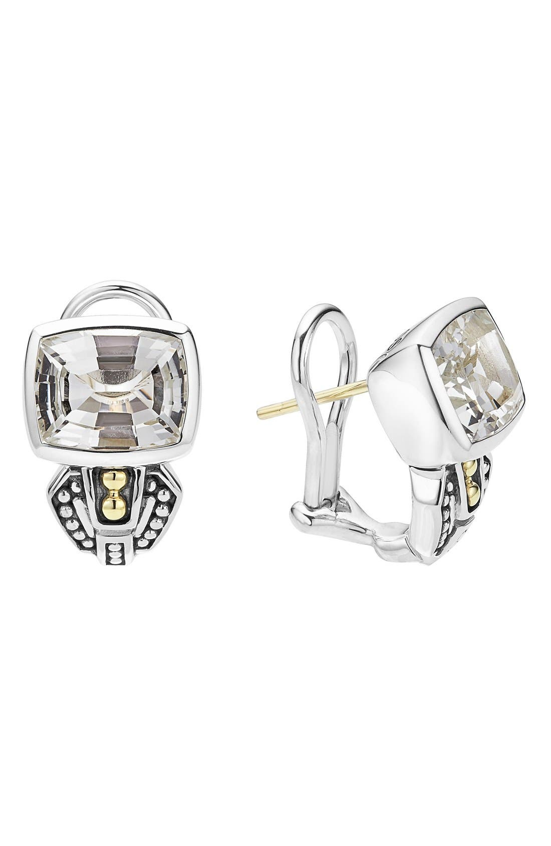 'Caviar Color' Semiprecious Stone Stud Earrings,                             Main thumbnail 1, color,                             White Topaz