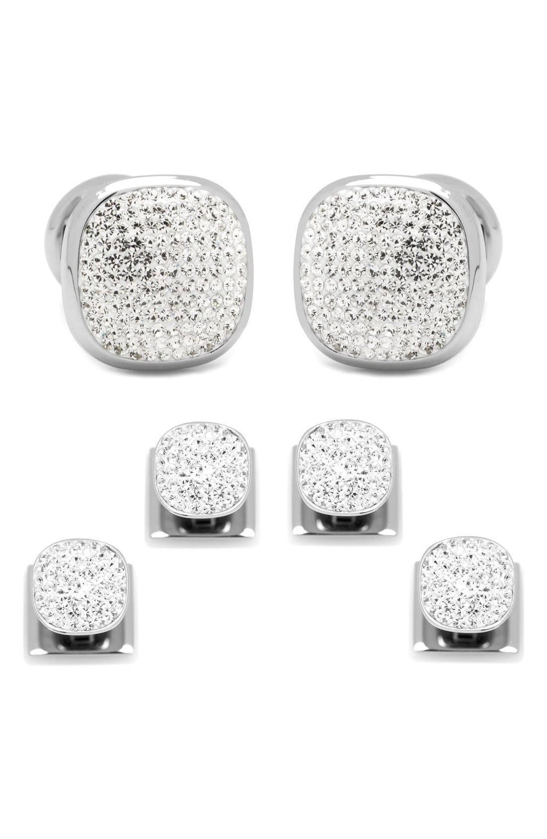 White Pave Crystal Shirt Studs & Cuff Links,                         Main,                         color, White