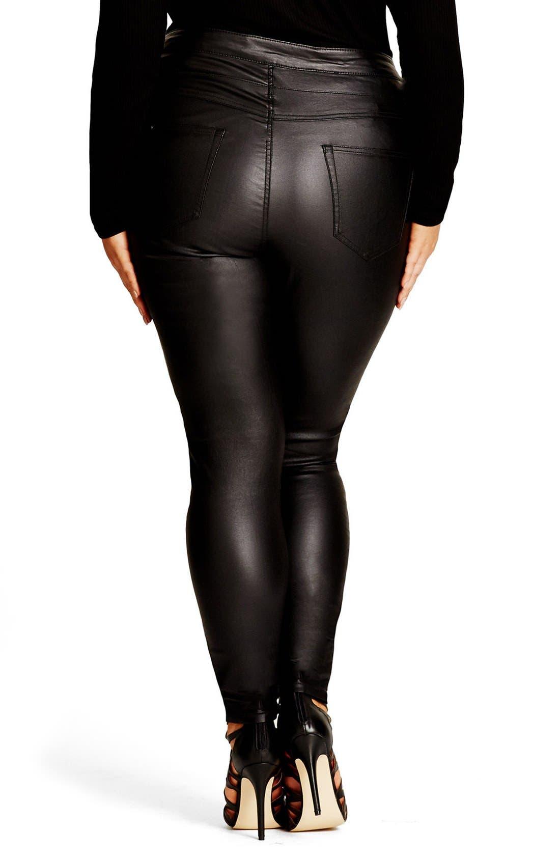 Coated Corset Skinny Jeans,                             Alternate thumbnail 3, color,                             Black