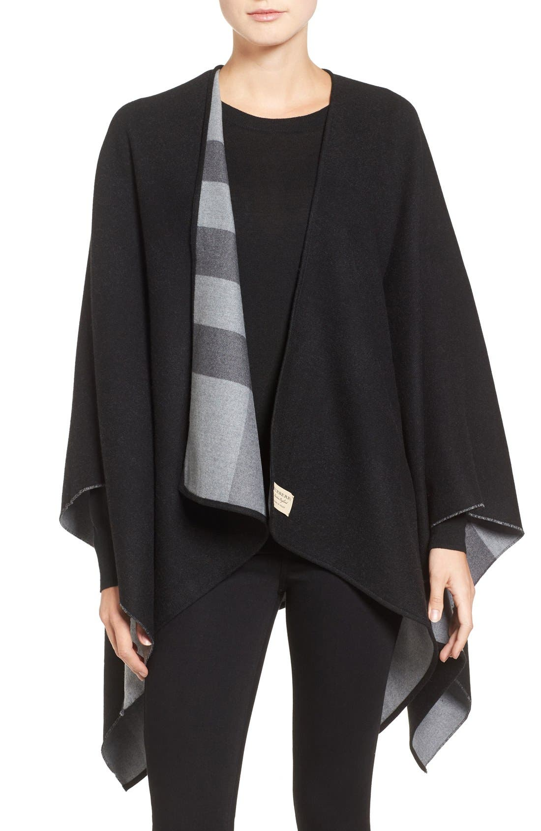 Reversible Merino Wool Cape,                         Main,                         color, Charcoal