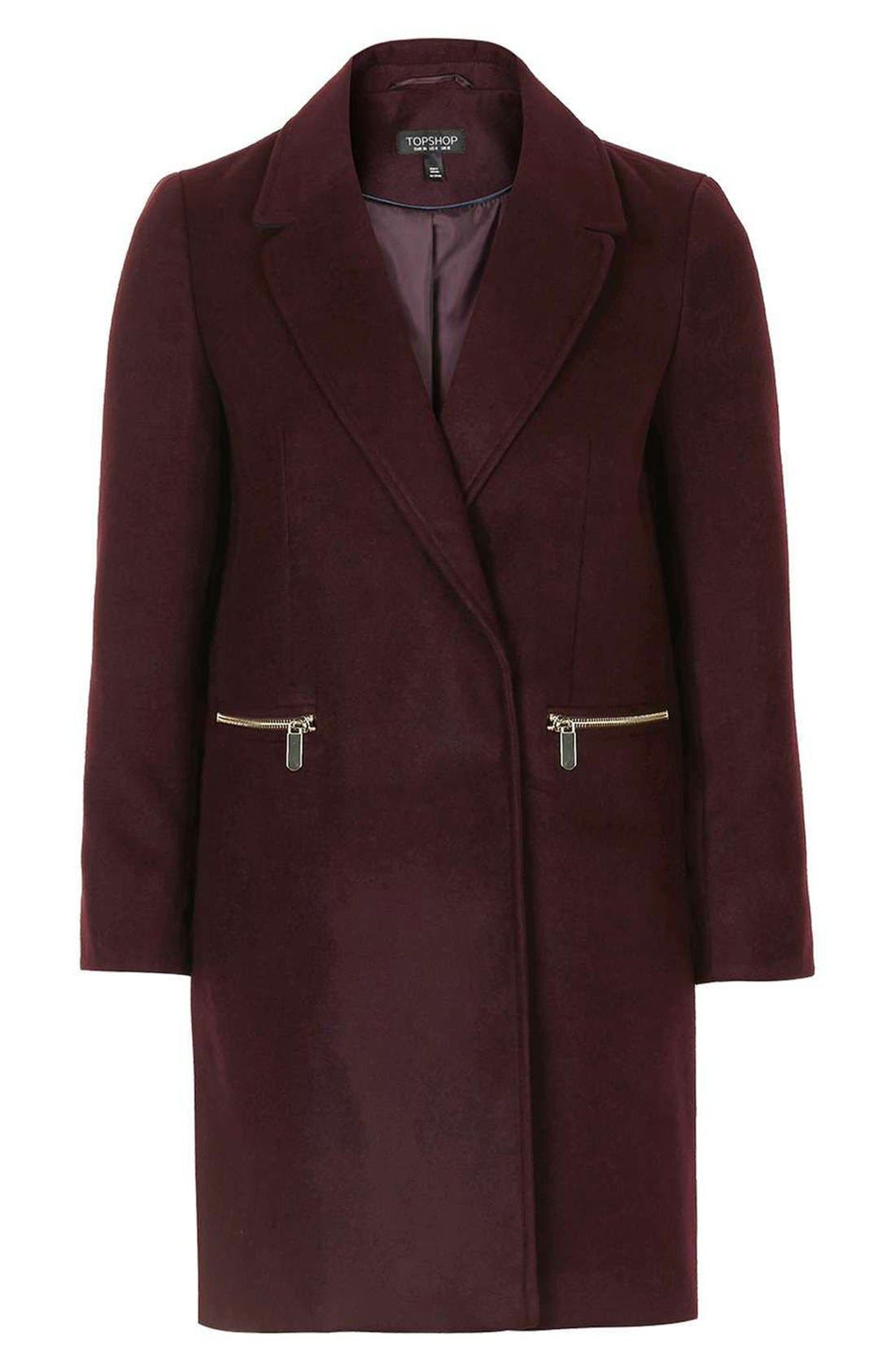 'Meg' Zip Pocket Coat,                             Alternate thumbnail 5, color,                             Burgundy