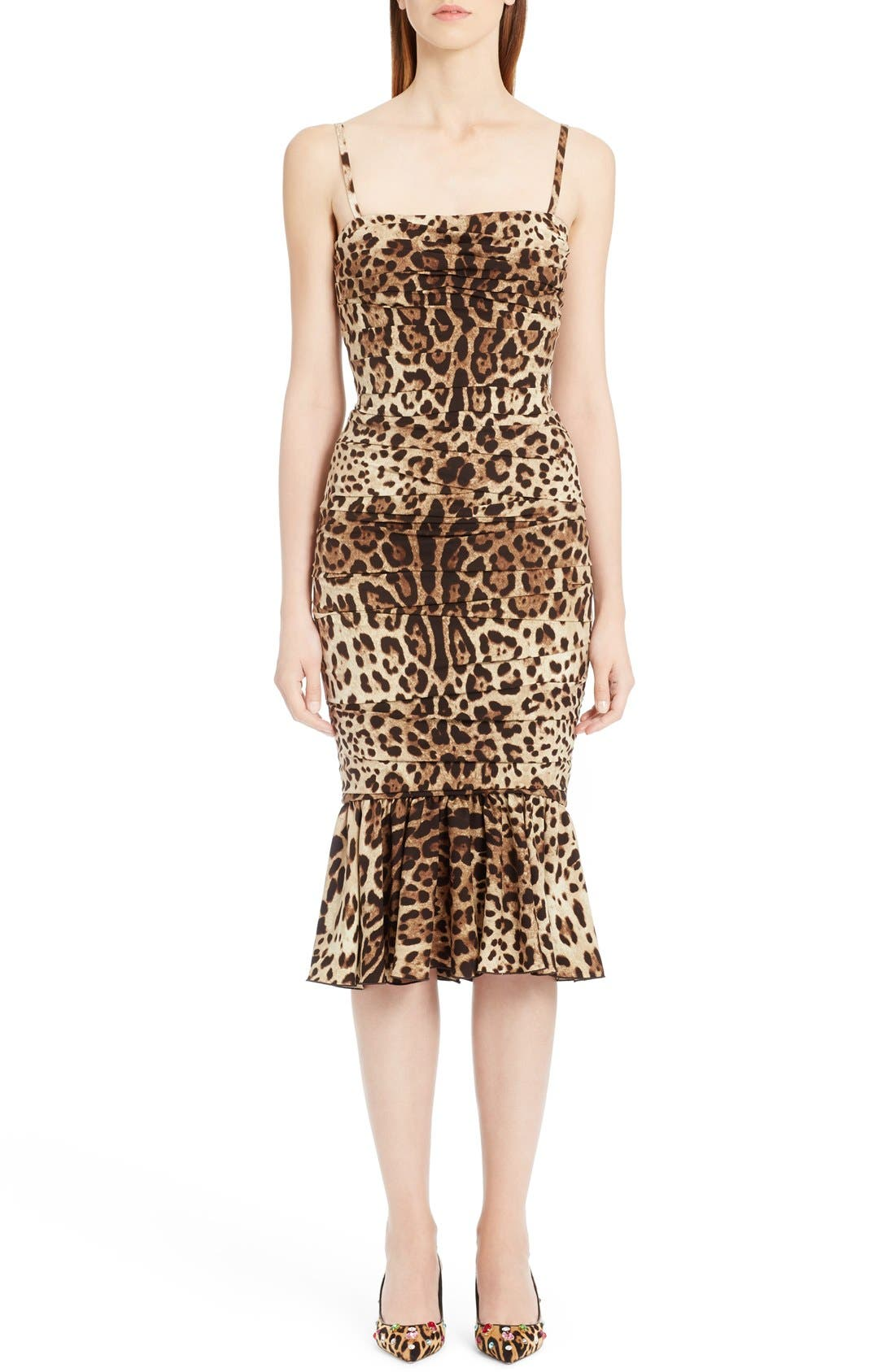 Main Image - Dolce&Gabbana Stretch Cady Leopard Print Ruched Dress