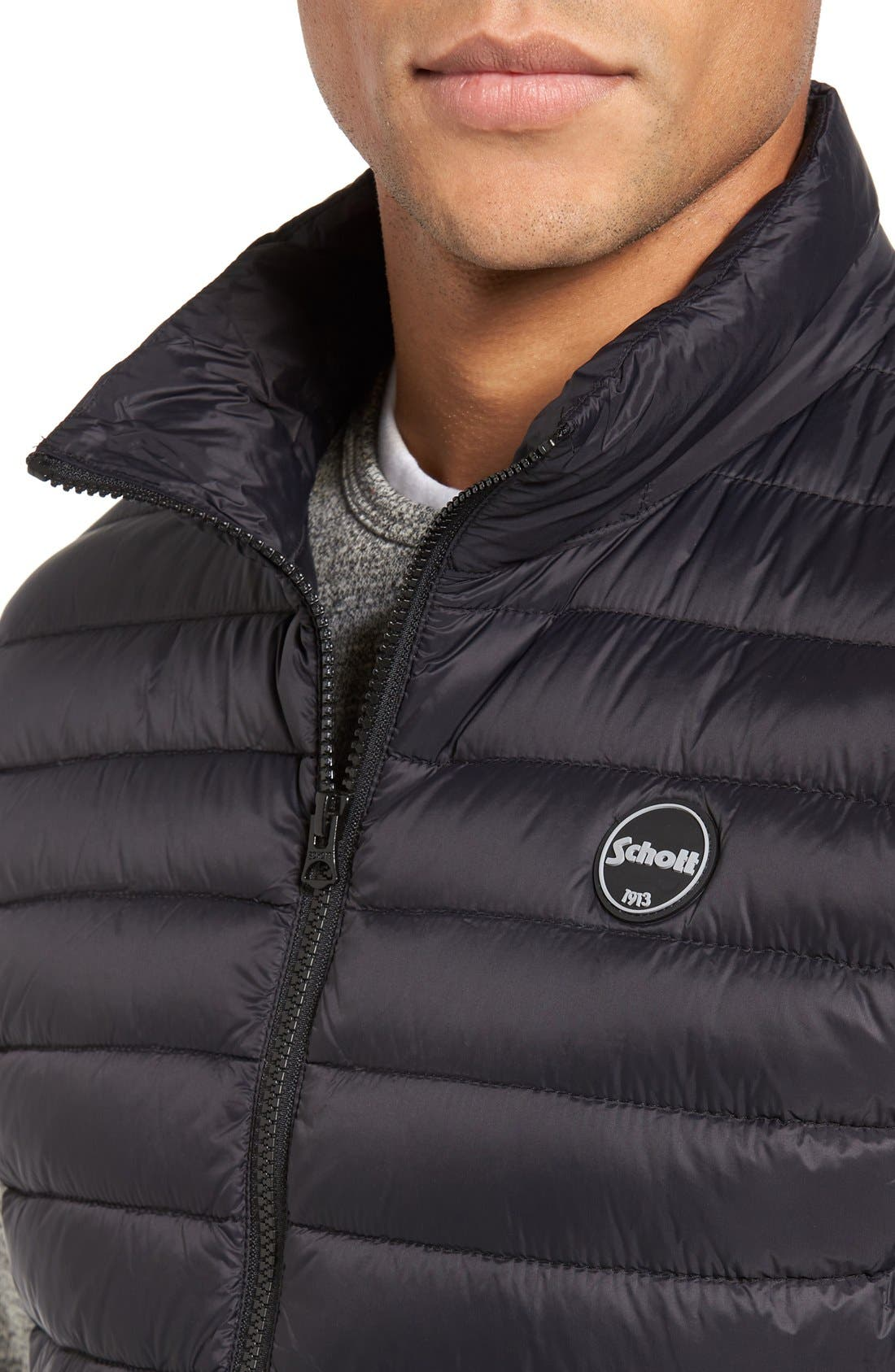 Lightweight Quilted Down Vest,                             Alternate thumbnail 4, color,                             Black