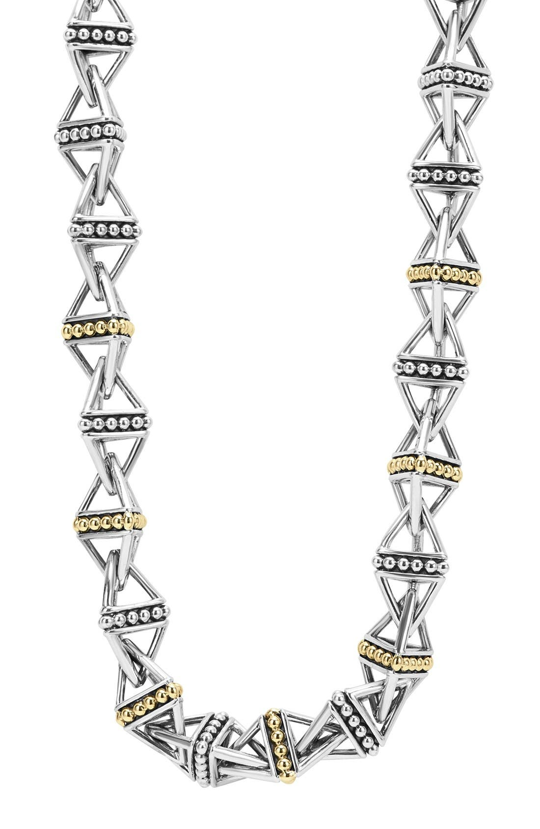 KSL Pyramid Link Chain Necklace,                             Main thumbnail 1, color,                             Silver/ Gold