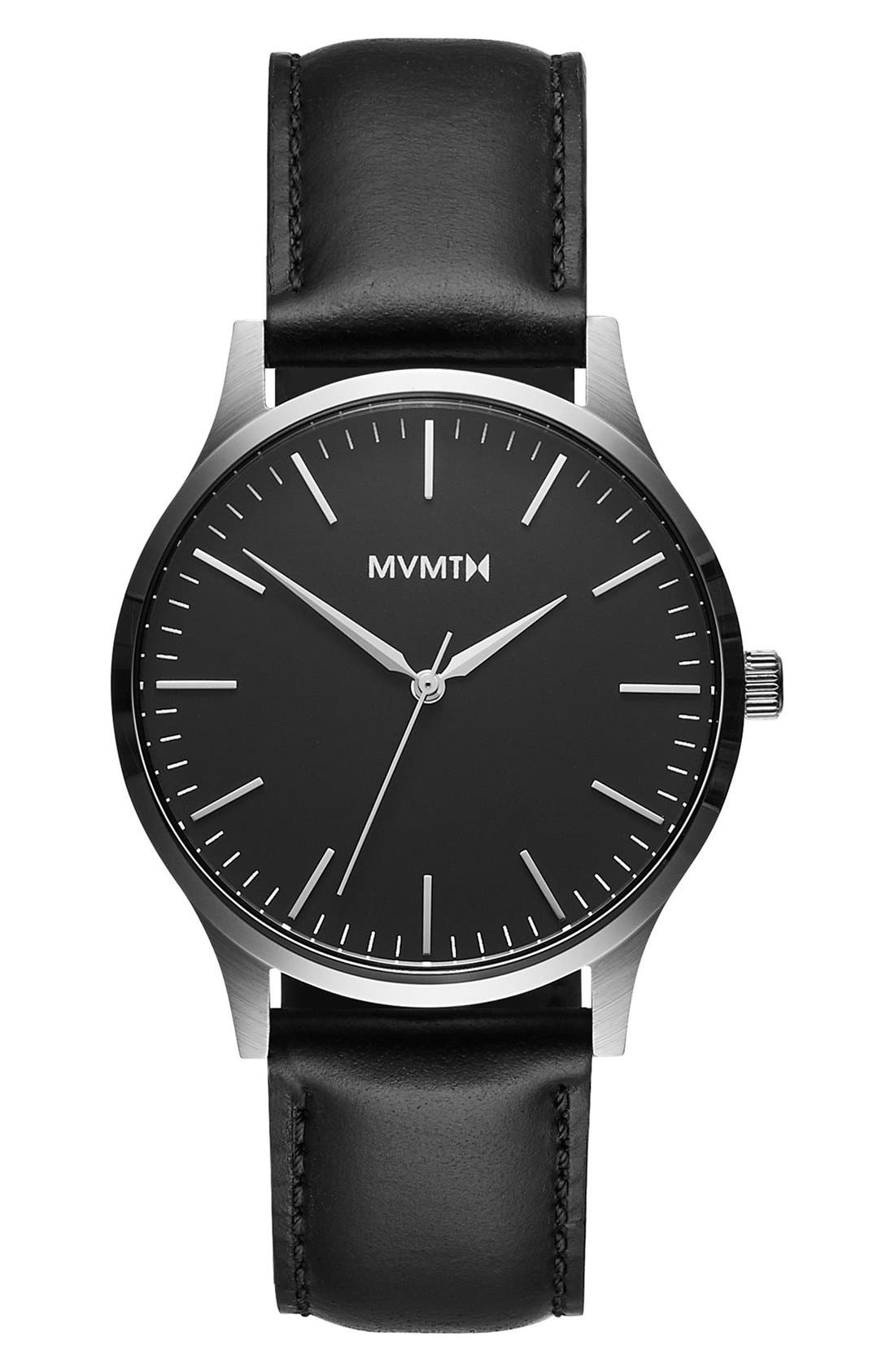 Leather Strap Watch, 40mm,                         Main,                         color, Black/ Black