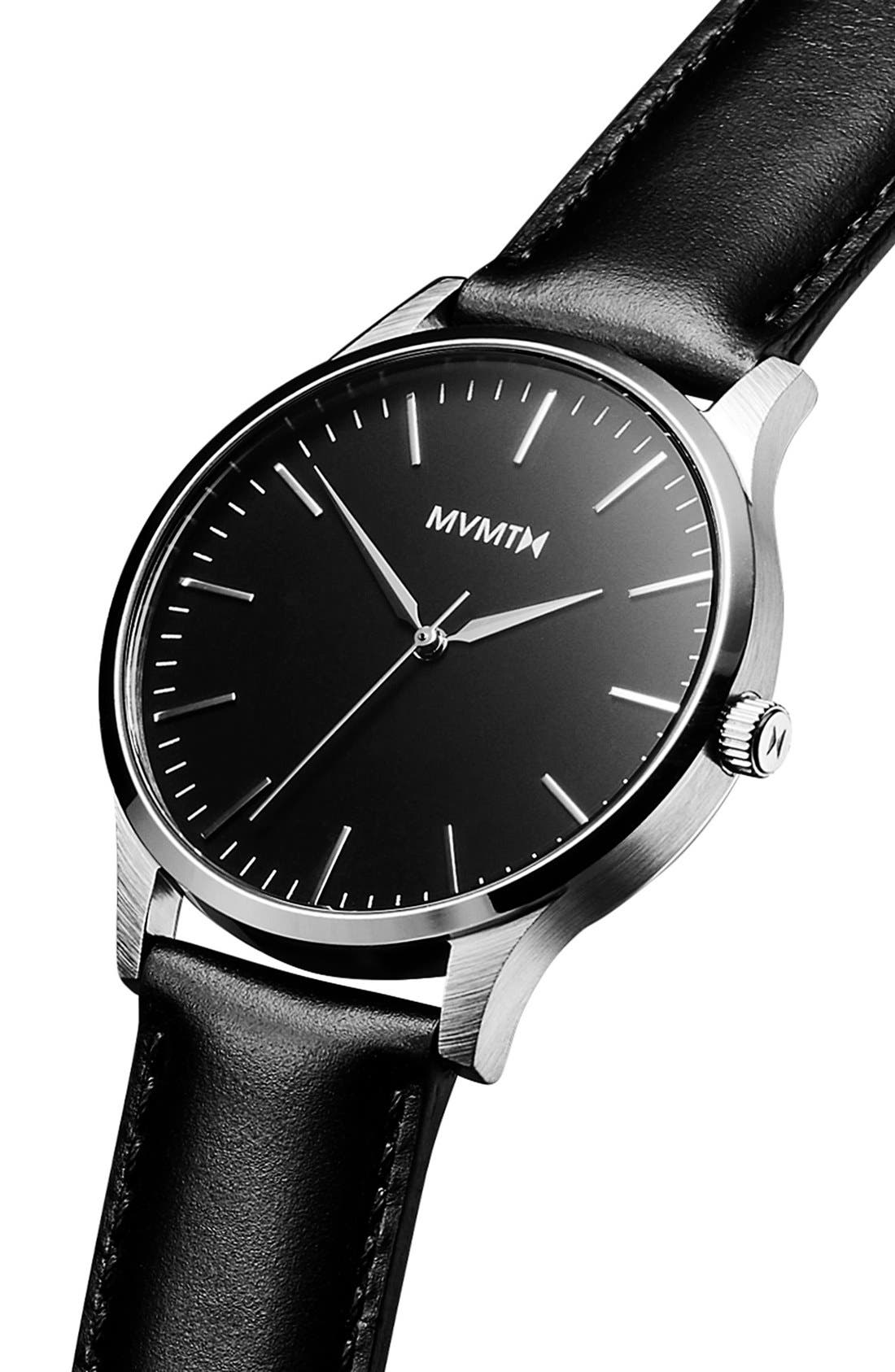 Leather Strap Watch, 40mm,                             Alternate thumbnail 3, color,                             Black/ Black