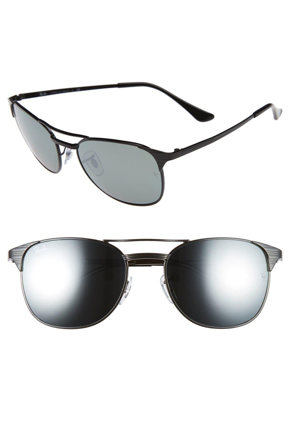Small Icons 55mm Retro Sunglasses,                         Main,                         color, Black/ Silver