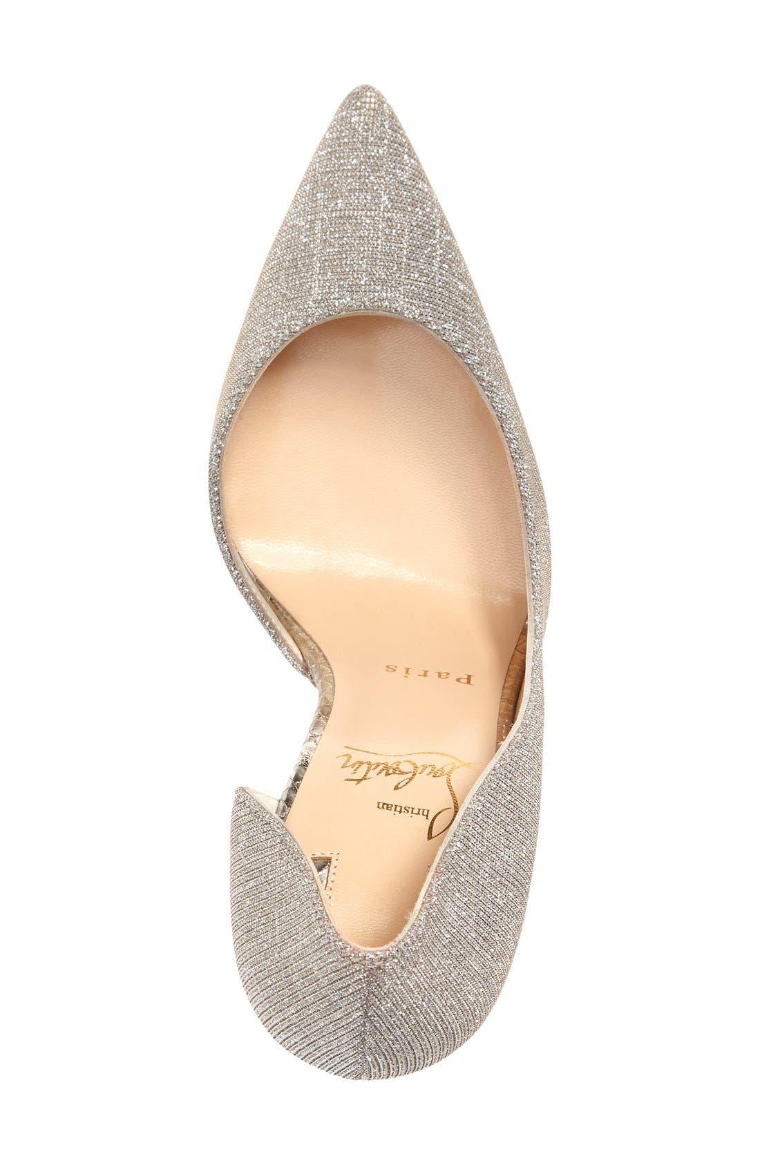 'Iriza' Half d'Orsay Glitter Pump,                             Alternate thumbnail 3, color,                             Metallic Silver
