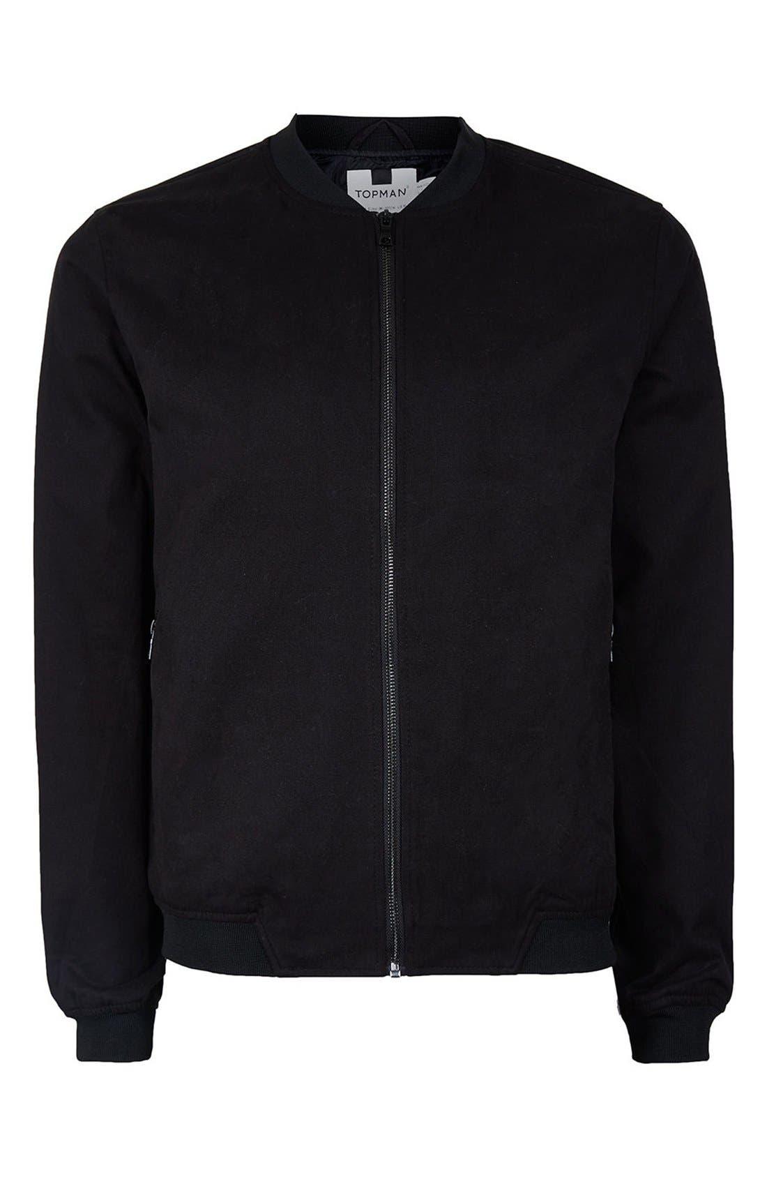 Cotton Bomber Jacket,                             Alternate thumbnail 5, color,                             Black