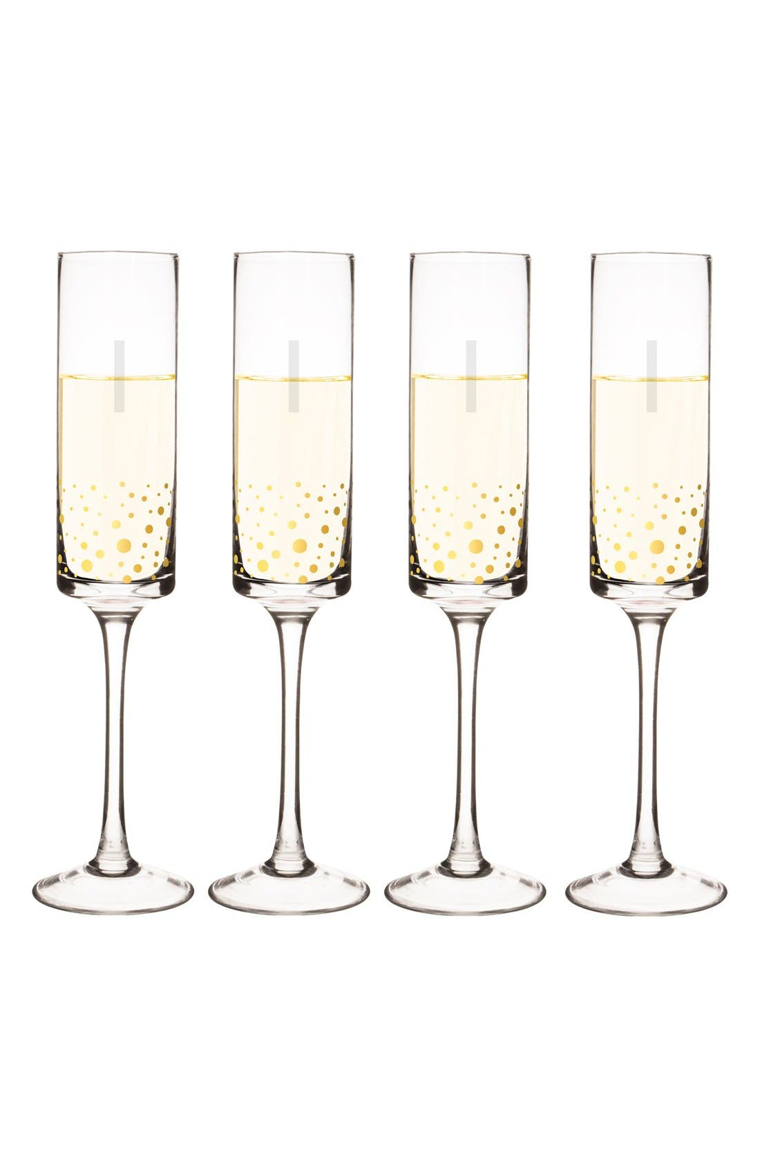Alternate Image 1 Selected - Cathy's Concepts Gold Dot Monogram Champagne Flutes