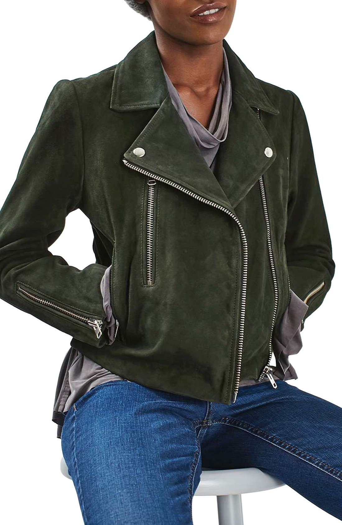 'Julie' Suede Moto Jacket,                             Main thumbnail 1, color,                             Green