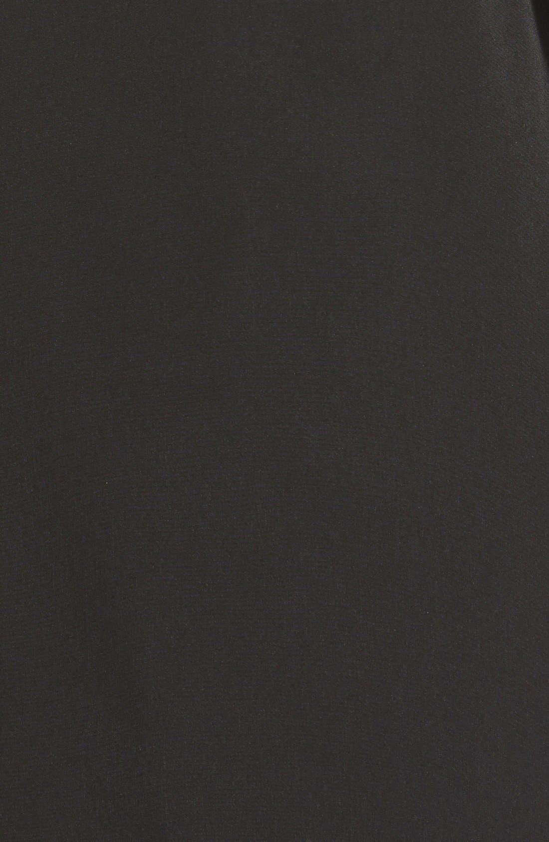 Two Tone Long Silk Look Raincoat,                             Alternate thumbnail 3, color,                             Black
