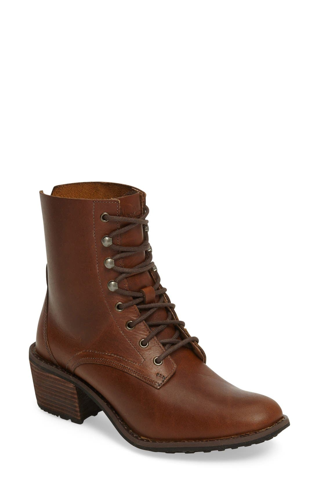 Western Territory Water Resistant Bootie,                             Main thumbnail 1, color,                             Ginger Leather
