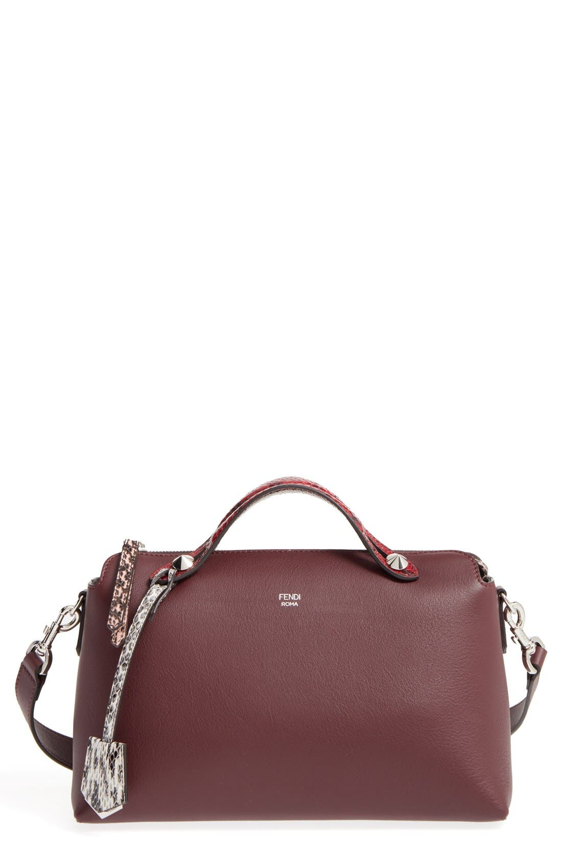 Fendi 'Medium By the Way' Calfskin Leather Shoulder Bag with Genuine Snakeskin Trim