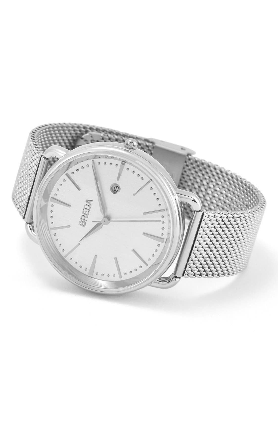 Linx Round Mesh Strap Watch, 42mm,                             Alternate thumbnail 2, color,                             Silver/ Silver
