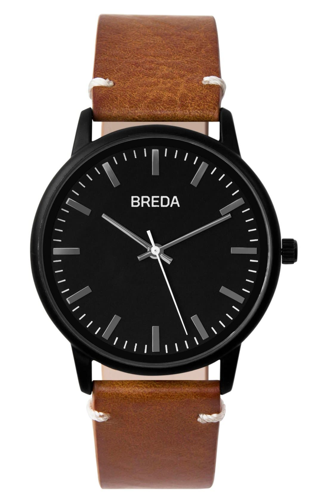 BREDA Zapf Round Leather Strap Watch, 39mm