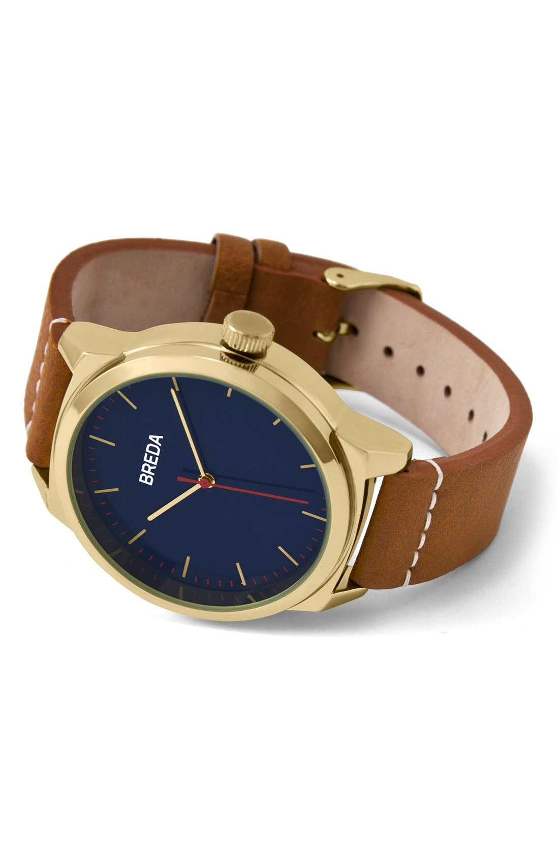 Rand Round Leather Strap Watch, 43mm,                             Alternate thumbnail 2, color,                             Gold/ Brown