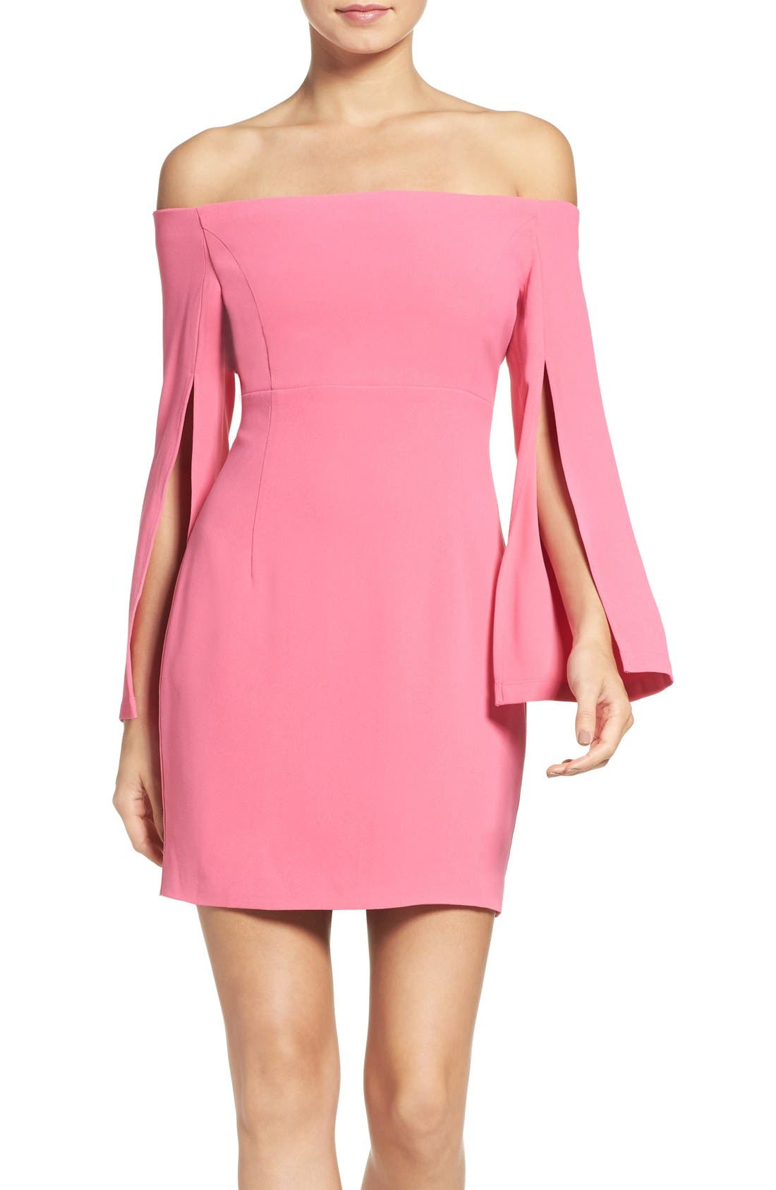 Ava Off the Shoulder Dress,                             Main thumbnail 1, color,                             Tulip Pink