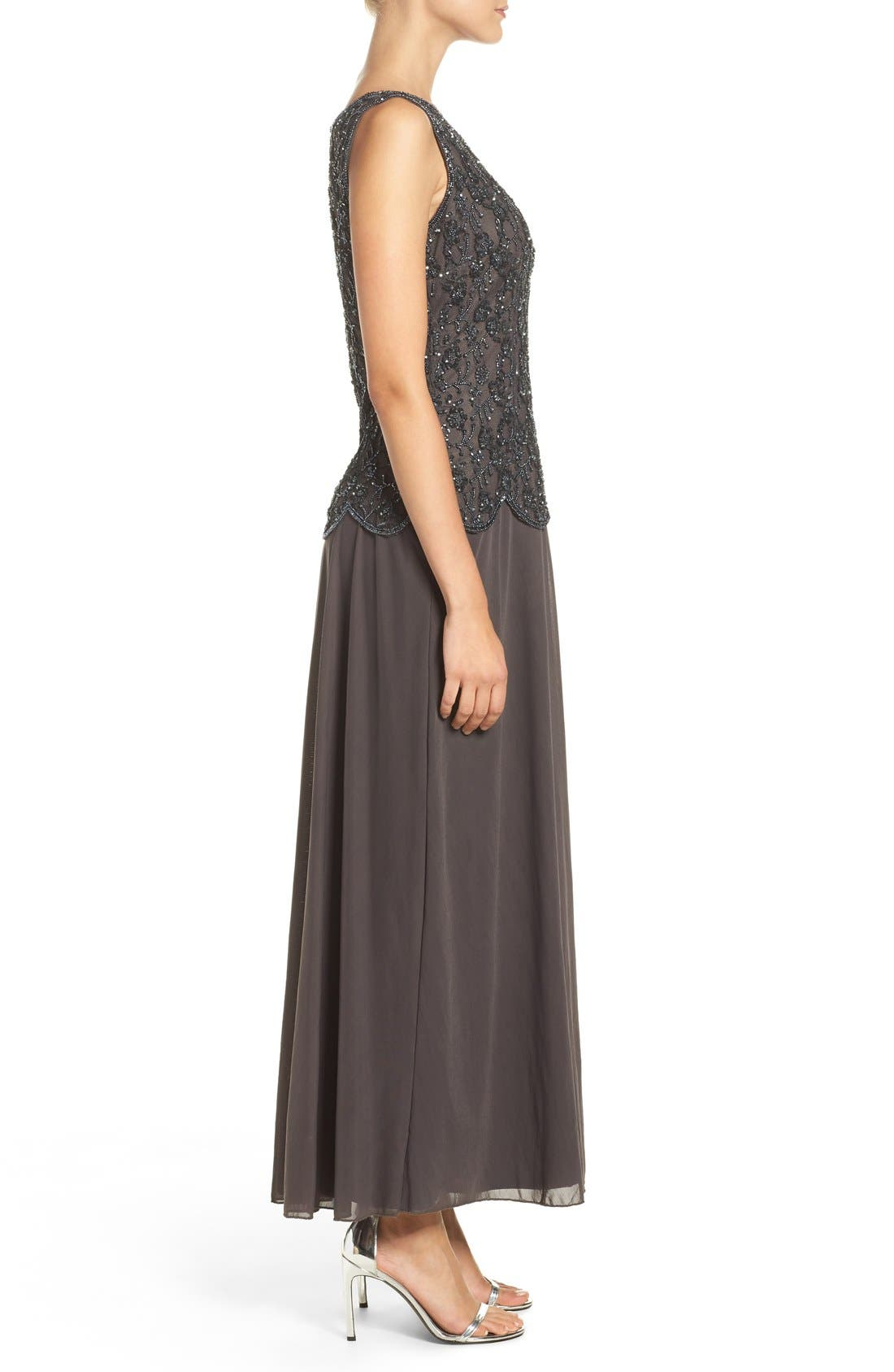 Embellished Mesh Gown,                             Alternate thumbnail 3, color,                             Slate