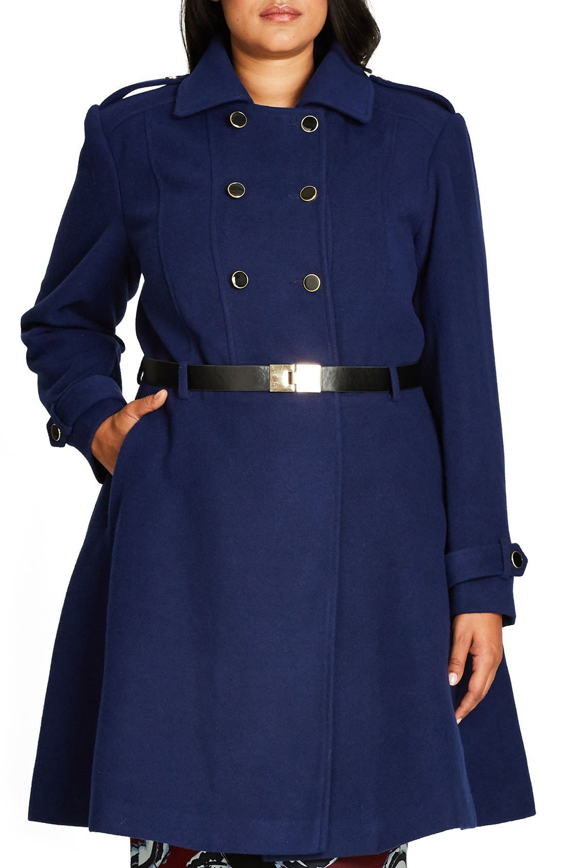 Alternate Image 1 Selected - City Chic Double Agent Belted Coat