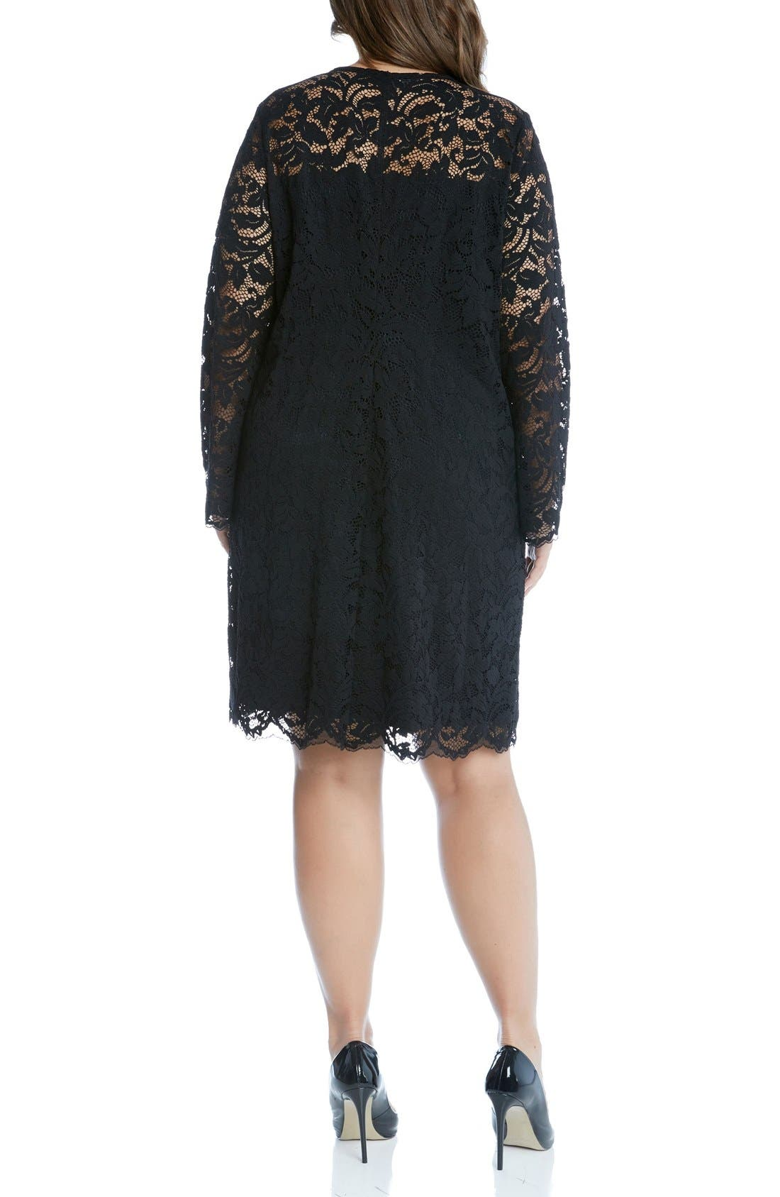 Alternate Image 3  - Karen Kane Lace A-Line Dress (Plus Size)