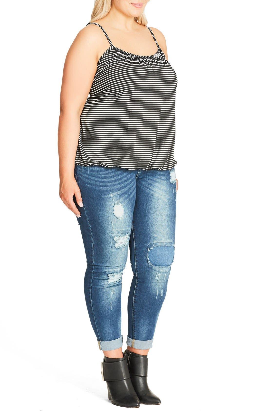 Alternate Image 3  - City Chic Stripe Bubble Hem Camisole (Plus Size)
