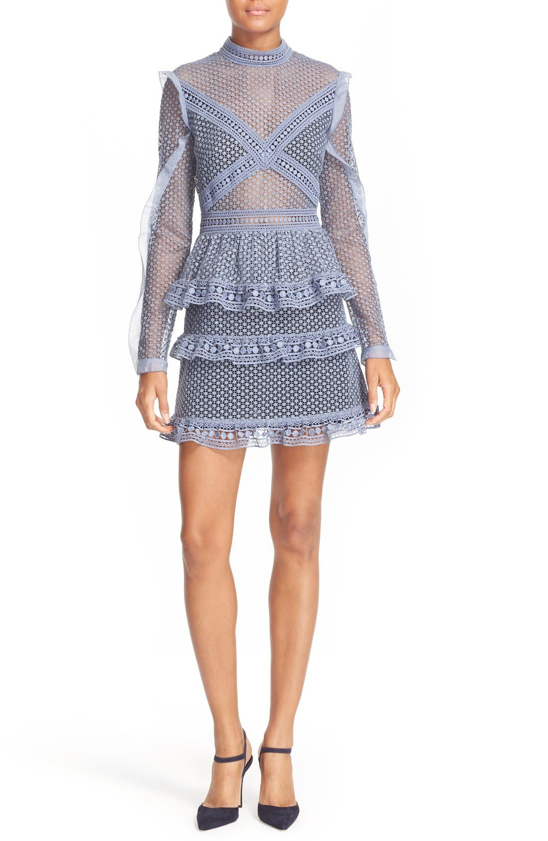 Alternate Image 1 Selected - Self-Portrait Dot Lace Tiered Minidress