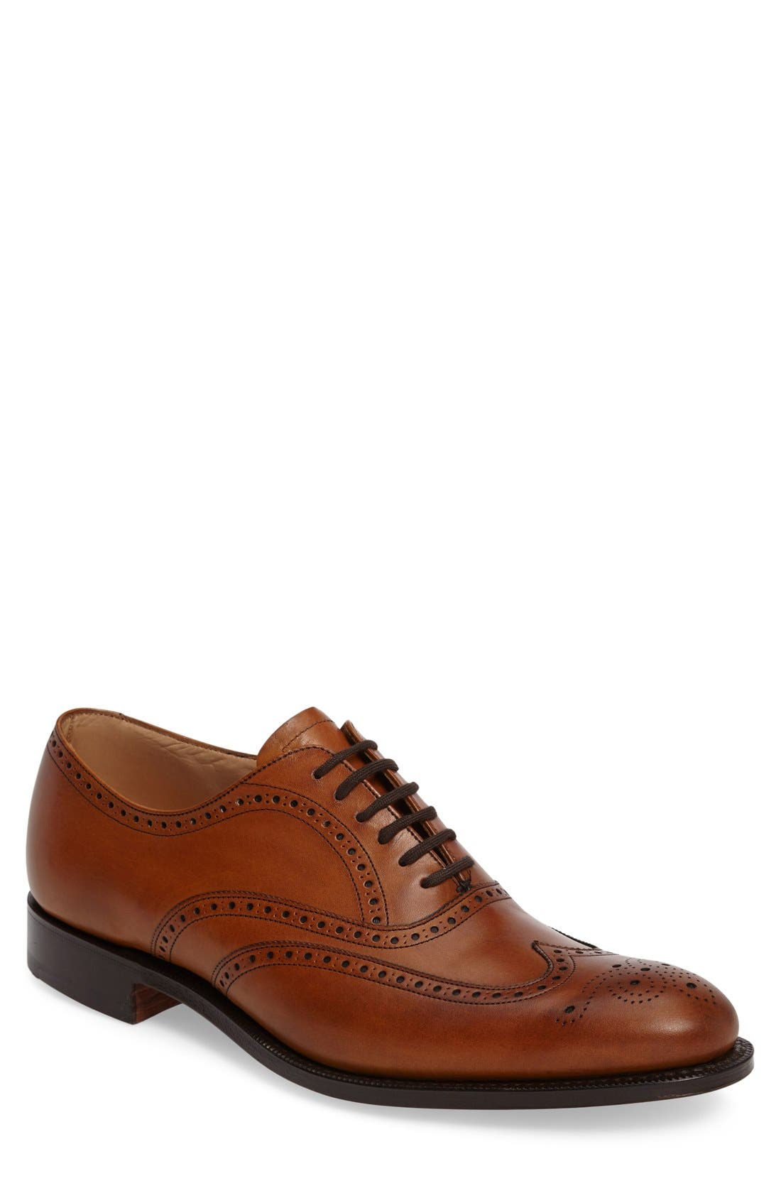 'Berlin' Wingtip Oxford,                             Main thumbnail 1, color,                             Brown Leather
