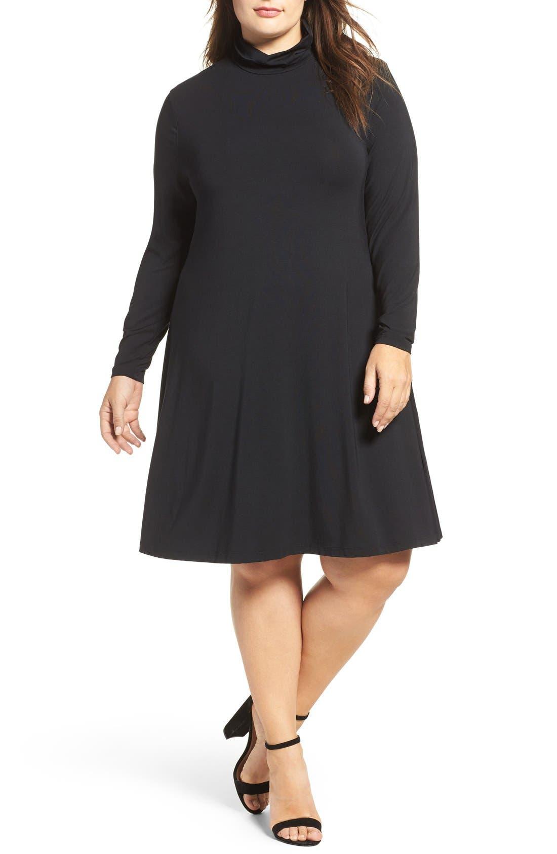 Sally Turtleneck A-Line Dress,                             Main thumbnail 1, color,                             Black