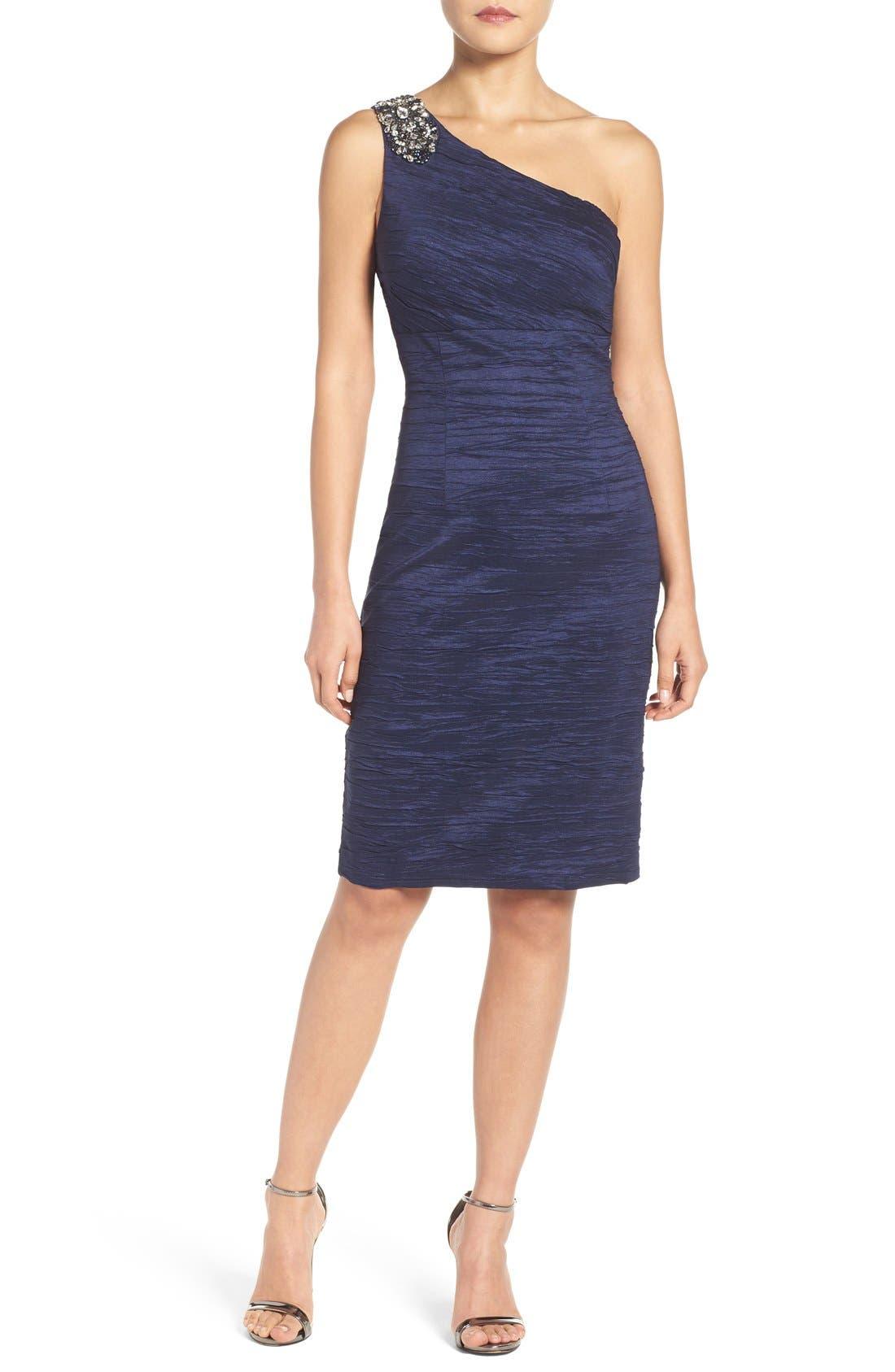 Embellished Taffeta Sheath Dress,                         Main,                         color, Midnight