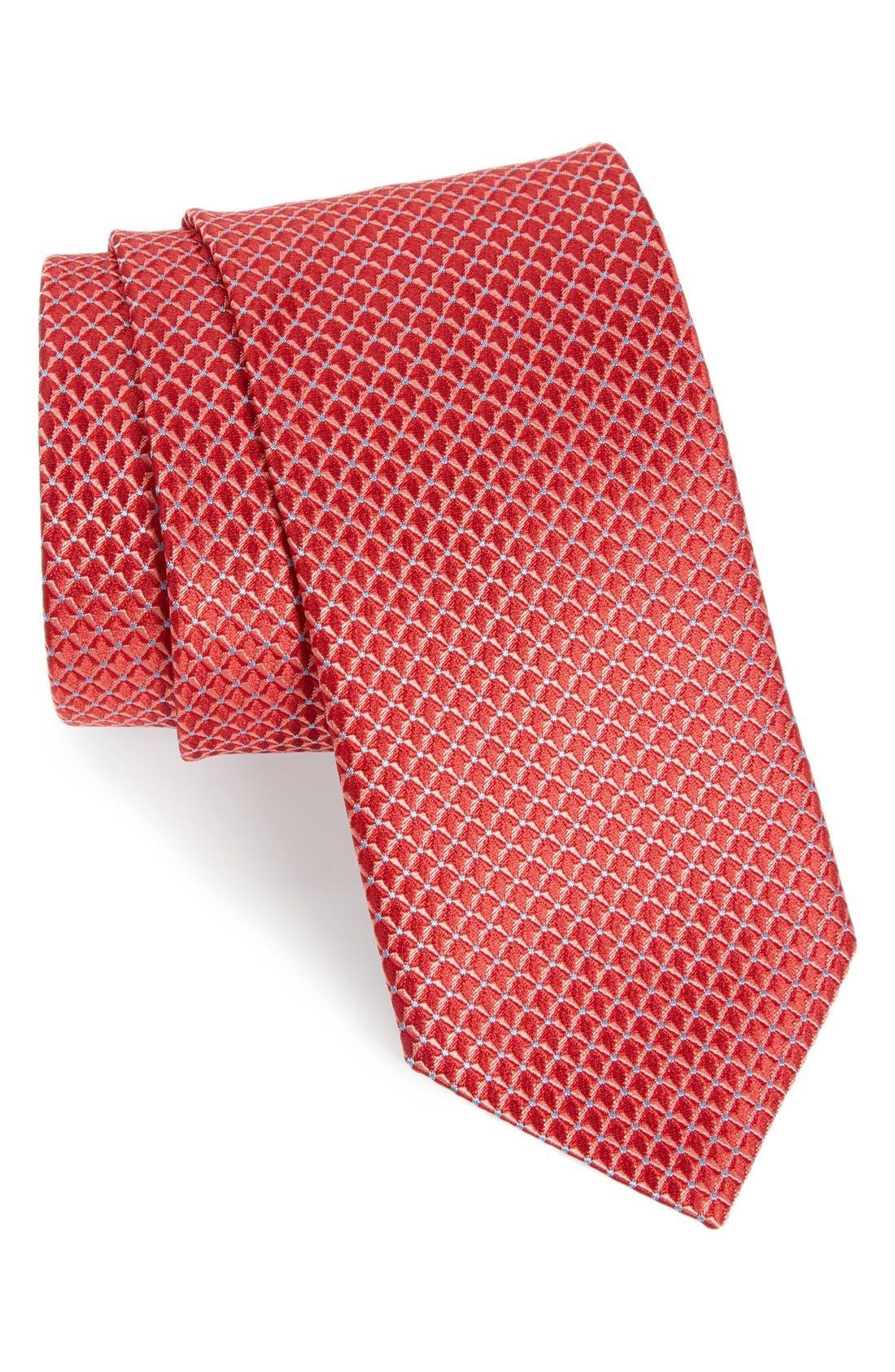 'Grayson Mini' Silk Tie,                             Main thumbnail 1, color,                             Red