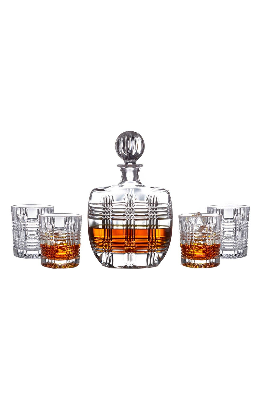 Bridgeport 5-Piece Decanter & Whiskey Glasses Set,                             Alternate thumbnail 2, color,                             Clear