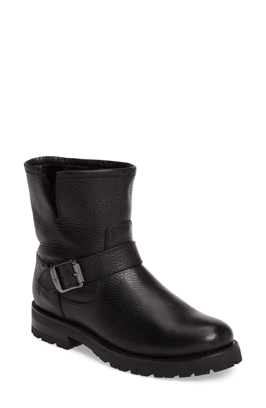 Frye Natalie Genuine Shearling Water Resistant Engineer Boot (Women)