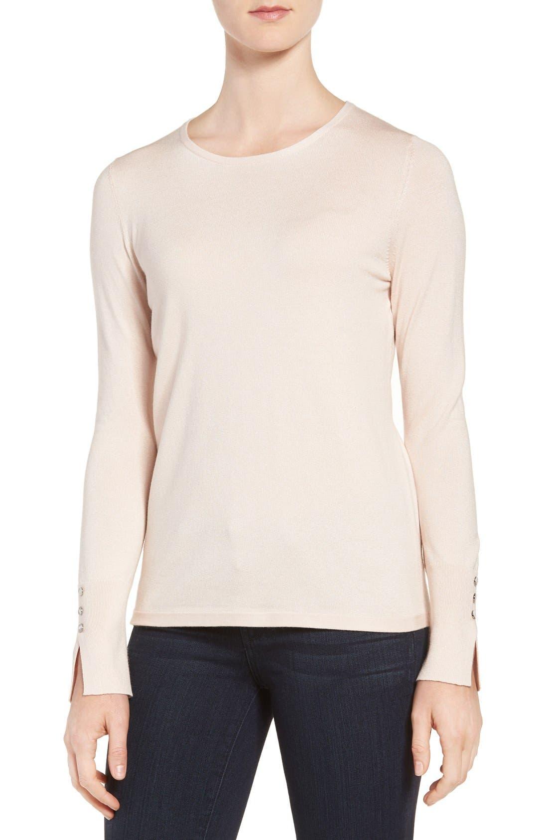 Cuff Detail Silk Blend Crewneck Sweater,                         Main,                         color, Pink Peony Bud