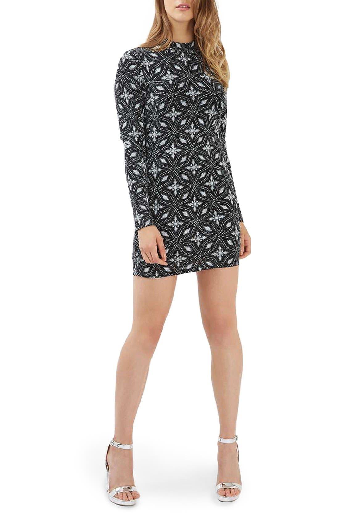 Alternate Image 2  - Topshop Diamond Mock Neck Body-Con Dress