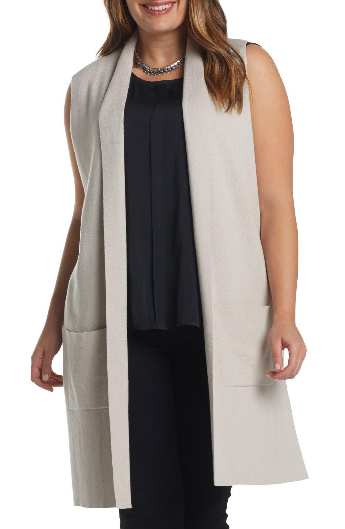 Melva Cotton & Cashmere Open Front Sweater Vest,                             Main thumbnail 1, color,                             Light Tan