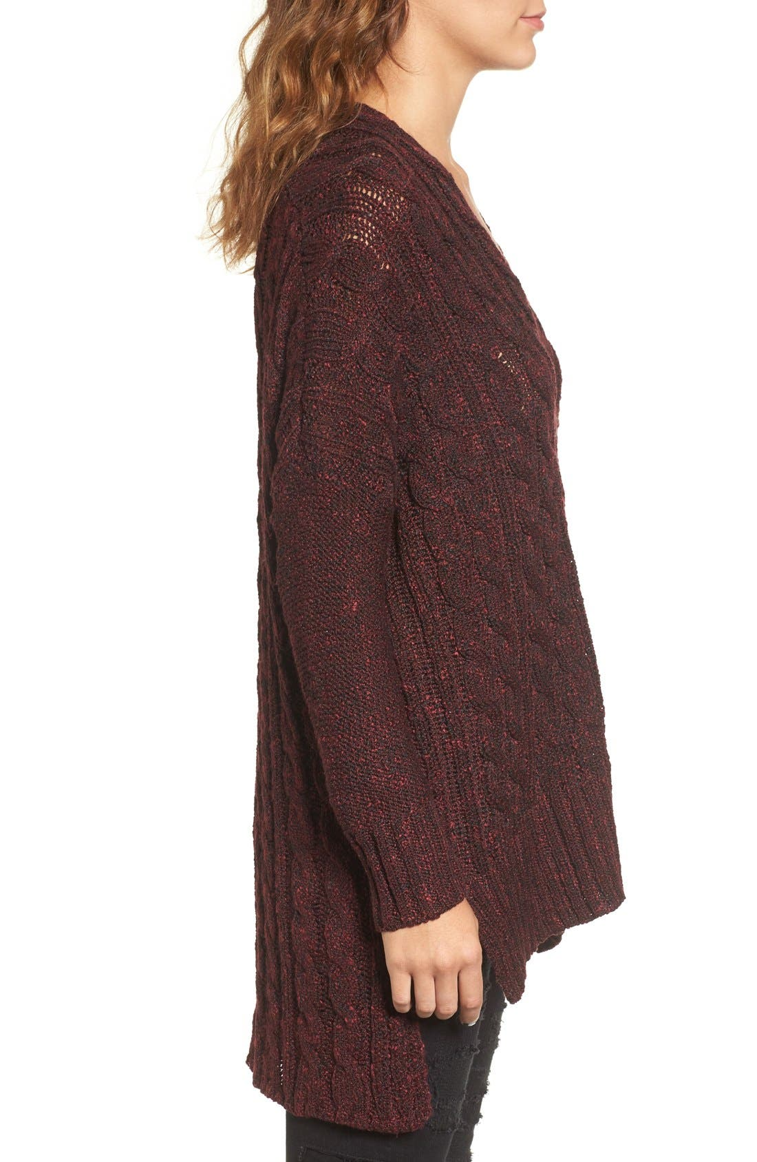 Marled Cable Knit Pullover,                             Alternate thumbnail 3, color,                             Burgundy/ Black Marl