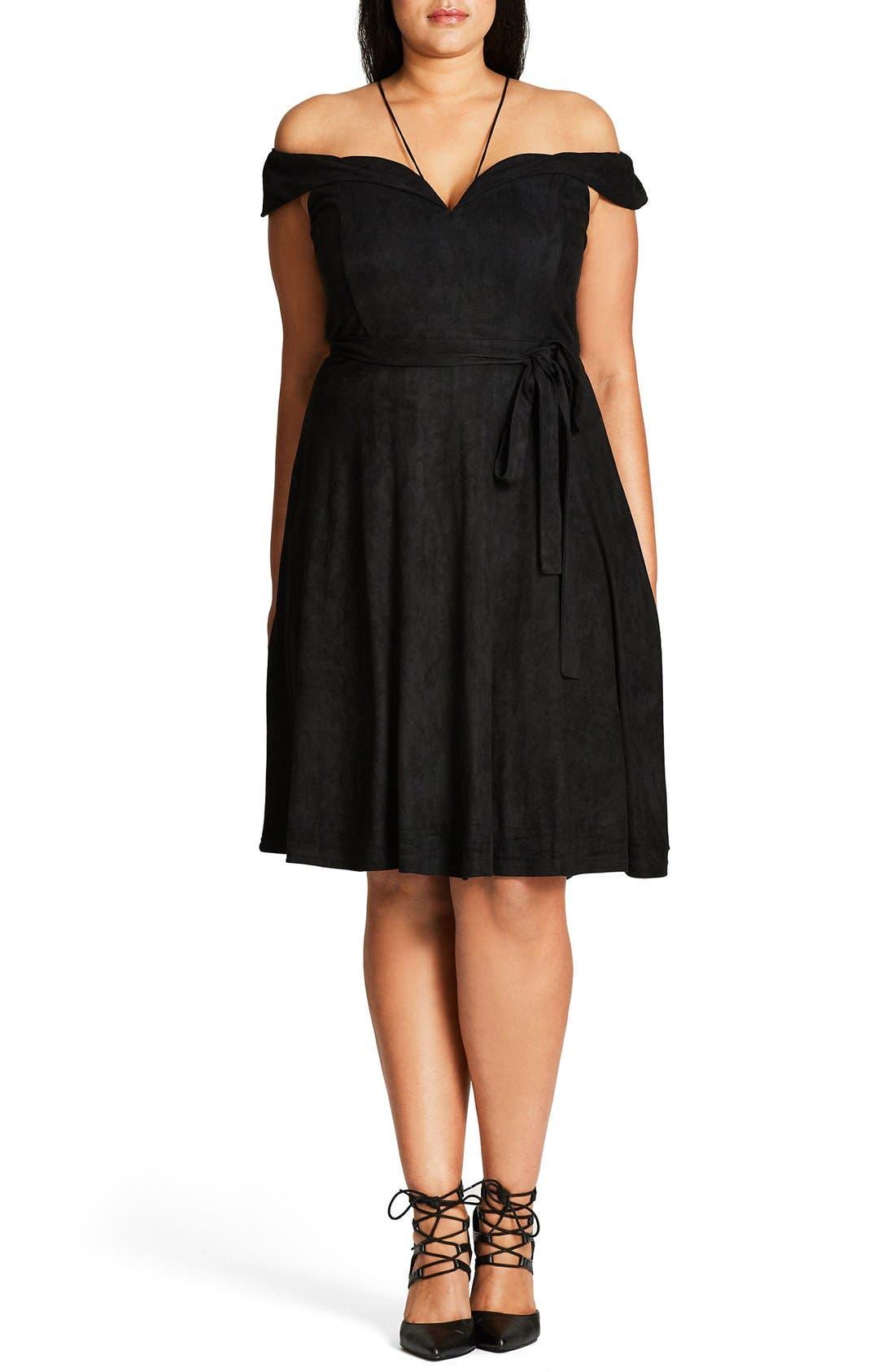 Ooh La La Faux Suede Dress,                         Main,                         color, Black
