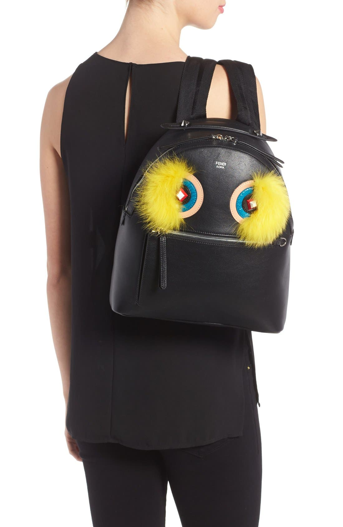 Alternate Image 2  - Fendi 'Monster' Leather Backpack with Genuine Fox Fur & Snakeskin Trim