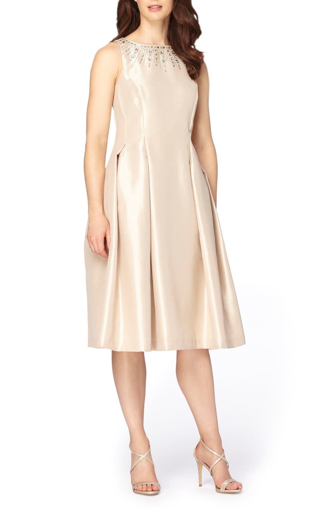 Embellished Fit & Flare Dress,                             Main thumbnail 1, color,                             Champagne