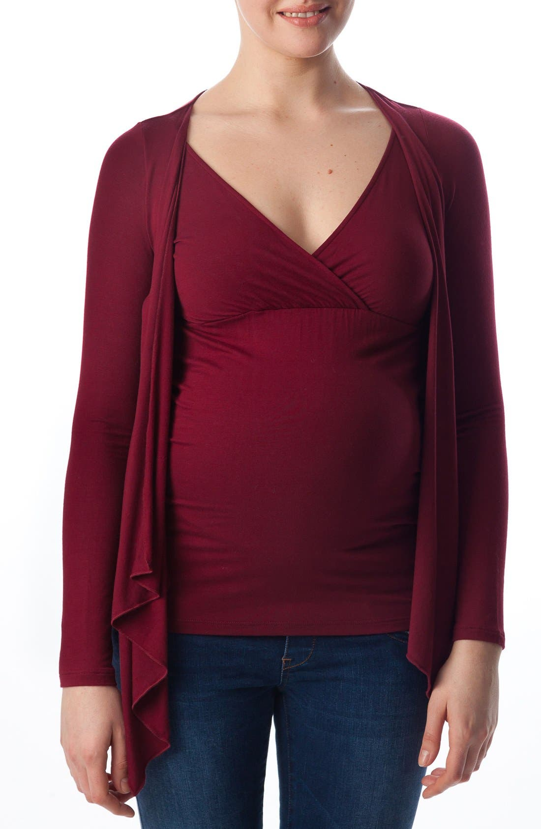 Anemone Maternity Wrap Top,                             Main thumbnail 1, color,                             Ruby Wine