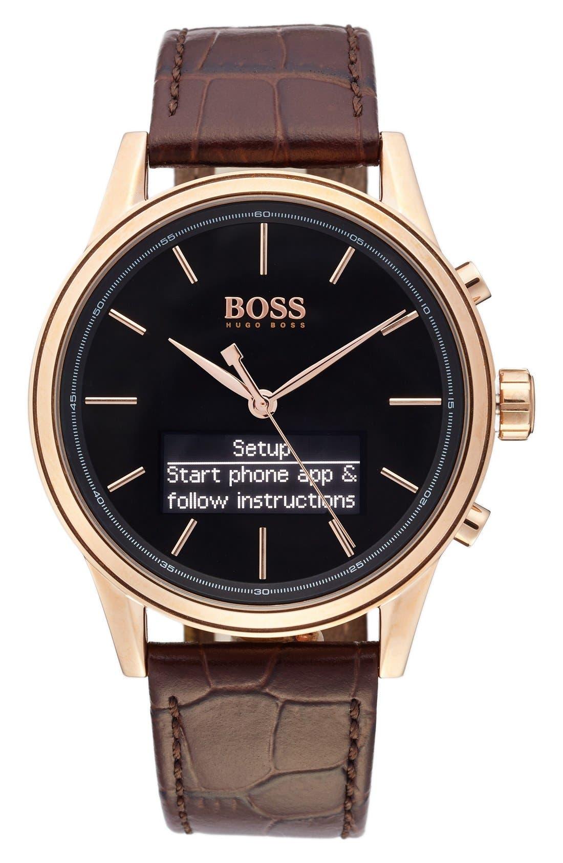 Main Image - BOSS Classic Leather Strap Smart Watch, 44mm