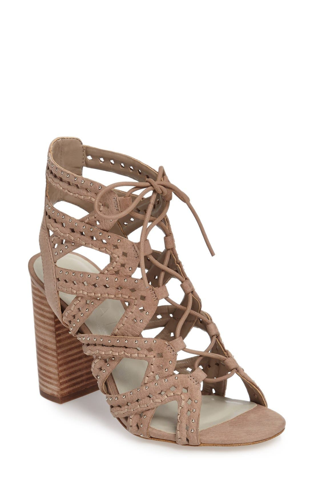 Kayley Sandal,                             Main thumbnail 1, color,                             Stone Nubuck Leather